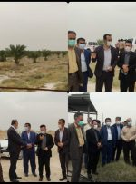 بازدید مدیرکل امور عشایر خوزستان به همراه ابراهیم متینیان از طرح ۱۰۰ هکتاری نخیلات بنه حاج چراغ اداره امور عشایر رامهرمز